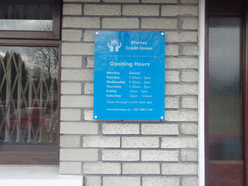 Blarney Credit Union Exterior Plaque