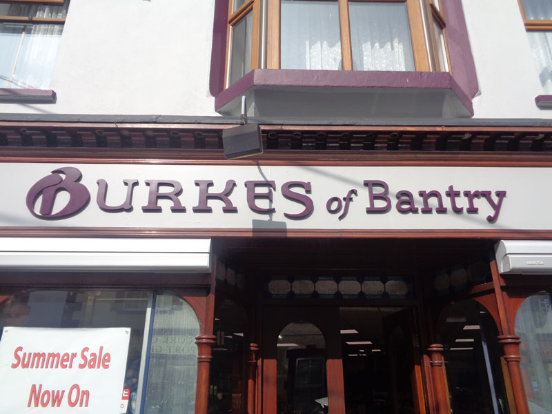 Burkes of Bantry Exterior Raised Lettering