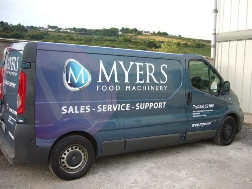 This is Custom Decals we designed and installed for Myers Food Machinery