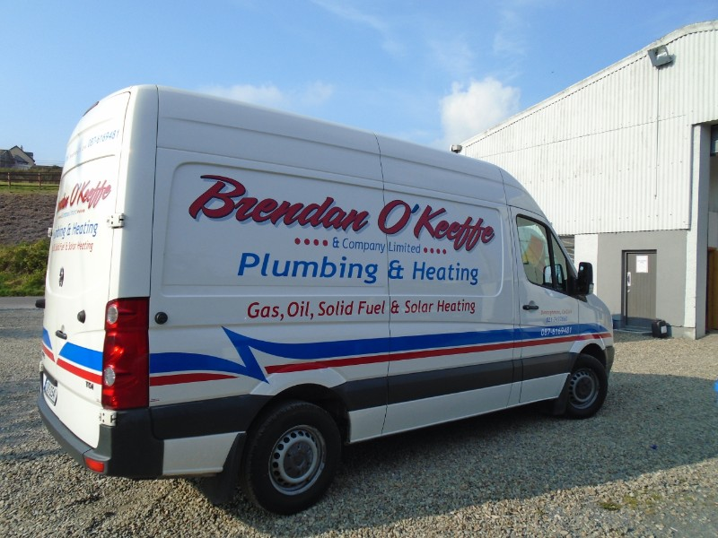This is Custom Decals we designed and installed for Brendan O'Keeffe Plumbing & Heating
