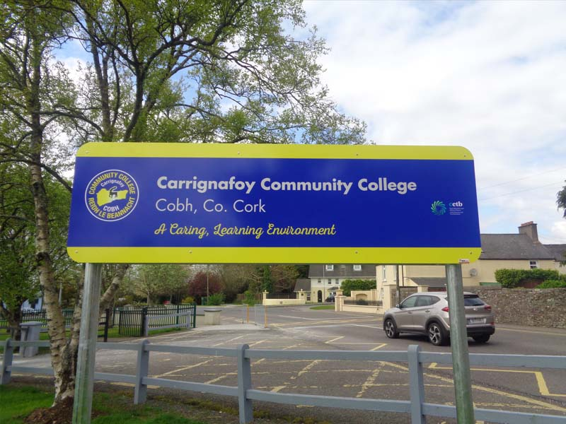Carrignafoy school large post panel sign
