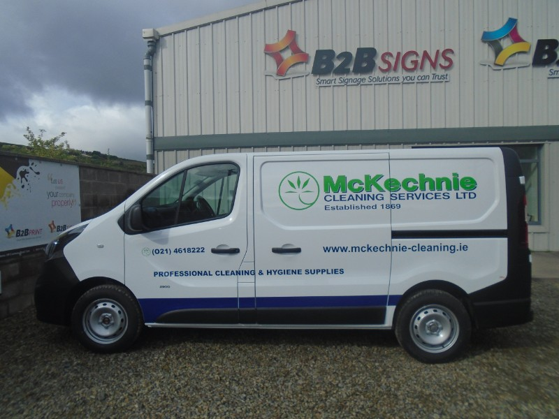 This is Custom Decals we designed and installed for McKechnie Cleaning Service