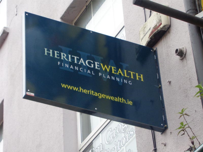 Heritage Wealth - folded box projection sign