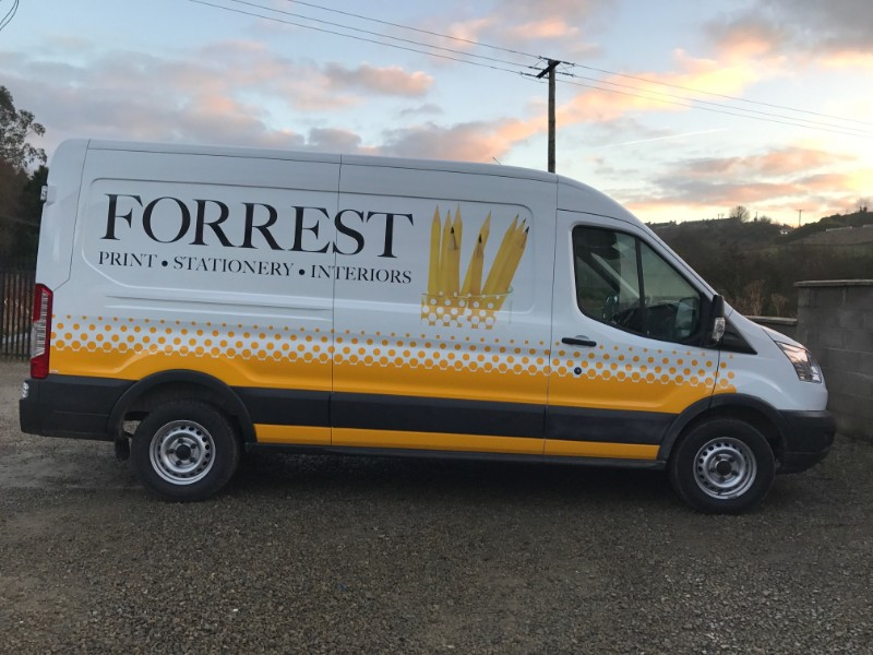 This is Custom Decals we designed and installed for Forrest Print