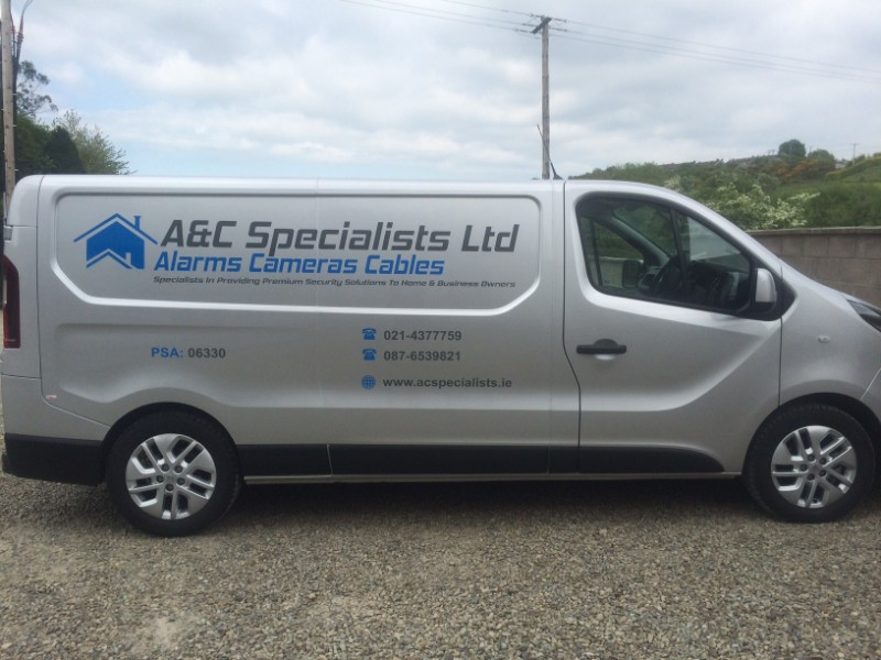 This is Custom Decals we designed and installed for A&C Specialists