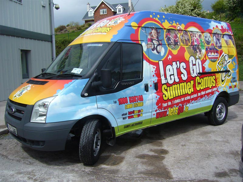 Lets Go Summer Camps_full wrap Van Hi Roof Transit